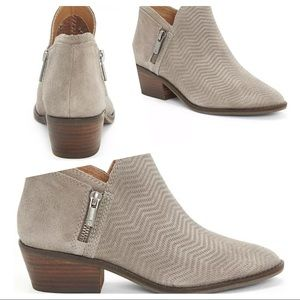 Lucky Brand Fhuna Embossed Suede Ankle Booties 6 M